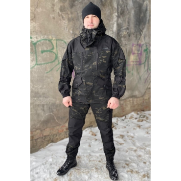 Костюм Горка 7П Деми (Р/С, Черный Мультикам)